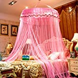 DE&QW Dome suspended ceiling nets mosquito net, Princess court anti-mosquitoes lightweight bed canopy-F King