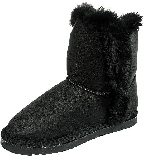 Girls Snug Faux Fur Trim Black Shimmer