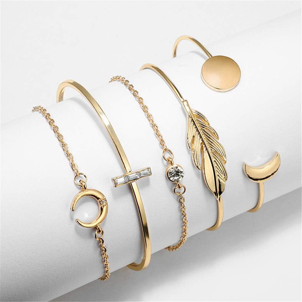 Omiky 5pcs // set Frauen-Diamant-Legierungs-Armband Geburtstag Frauen//M/ädchen Herz Feder Sonne Mond Pfeil Cuff Bracelet f/ür Valentinstag Muttertagsgeschenk