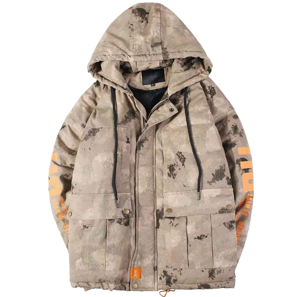 Cotton Coat Oversize Winter Thick Work Tool Camouflage Suit Letter Print Large Pocket Coat (Size   L)