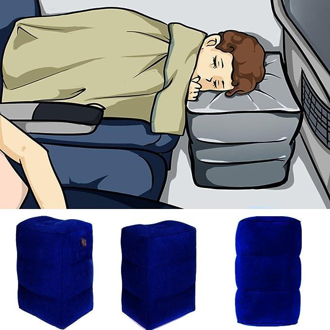 Bleu Marin ROSEBEAR Coussin de Repose-Pieds de Voyage Coussin de Repose-Pieds Gonflable Id/éal pour Les Avions Les Voitures Les Bus Les Trains Les Bureaux.