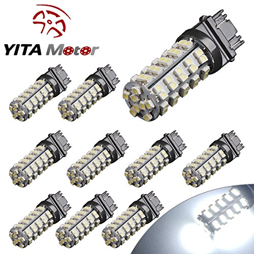 YITAMOTOR 10 X 3157 68-SMD Brake Tail Stop Light Xenon White LED Bulbs T25 3057 3457 4157