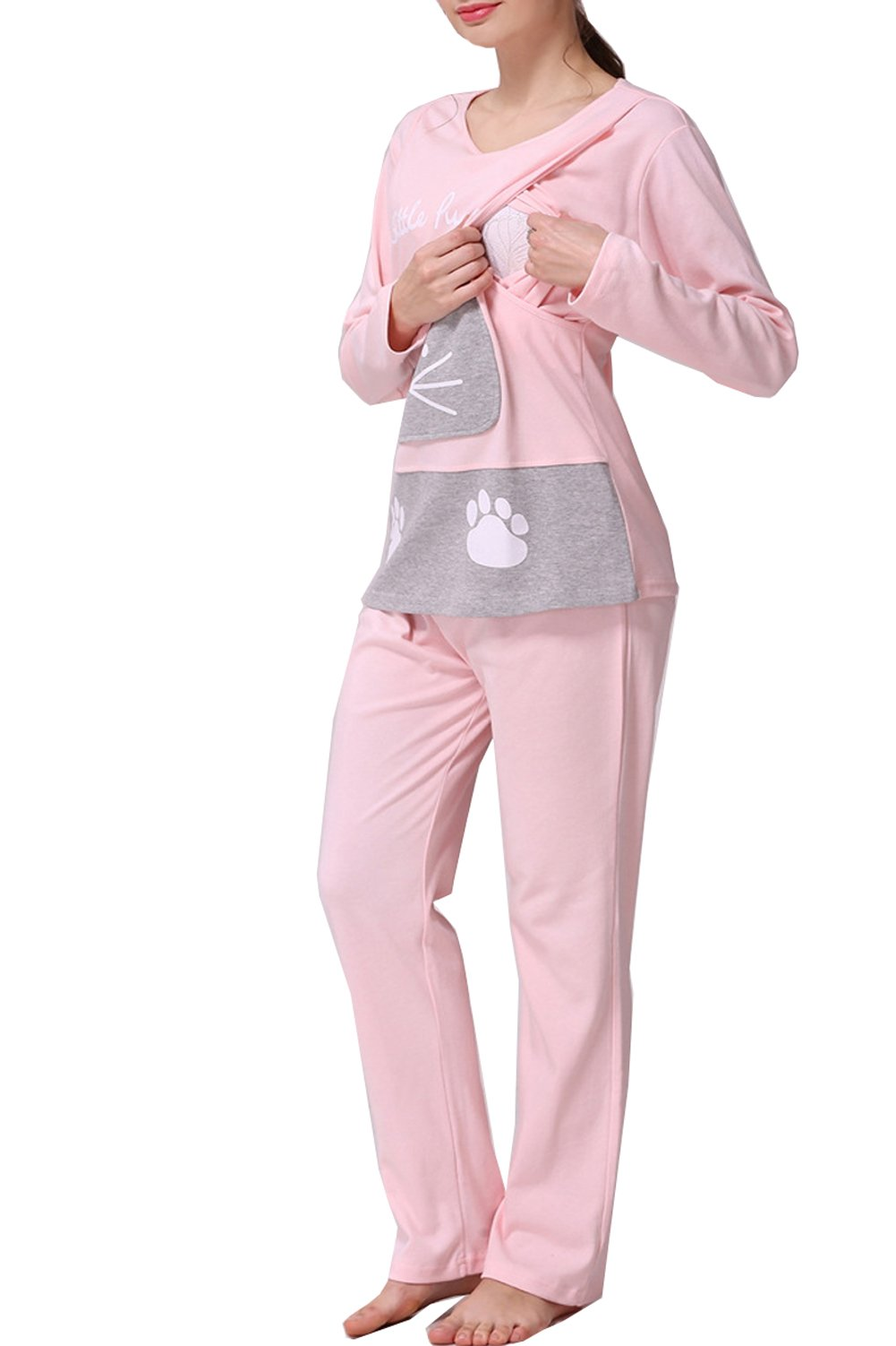 Women's Cat Pattern Maternity Nursing Pajamas Set Breastfeeding Top and Pant (Medium, Pink)