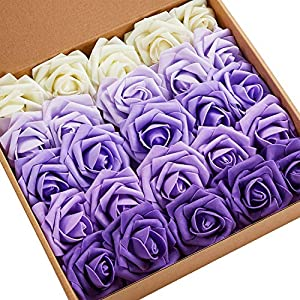 N&T NIETING Roses Artificial Flowers, 25pcs Real Touch Artificial Foam Roses Decoration DIY for Wedding Bridesmaid Bridal Bouquets Centerpieces, Party Decoration, Home Display (SeriesC Purple) 97