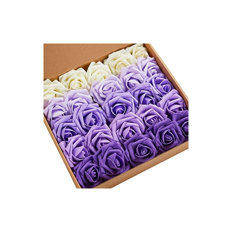 silk flower arrangements n&t nieting artificial flowers, 25pcs gradient purple fake flowers decoration diy for wedding bridesmaid bridal bouquets centerpieces,, home display, valentines day gifts for him her kids