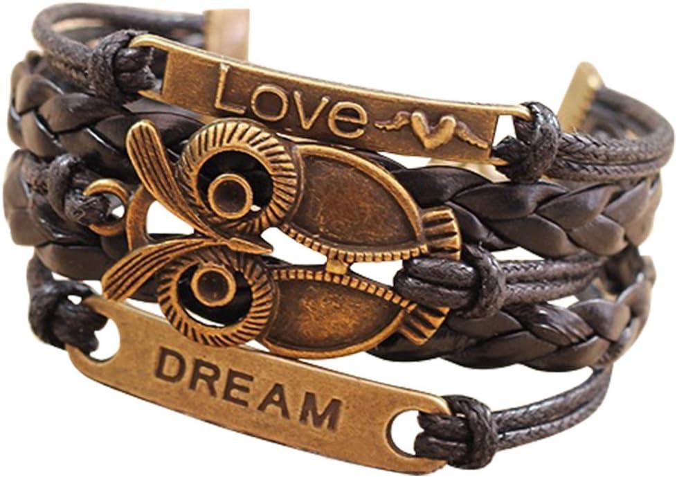 Nobio Retro Vintage Handmade PU Leather Bracelet Wristlet Bangle Wrist Band Hand Chain Charm