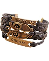Retro PU Leather Bracelet Wristlet Bangle Wrist Band hand chain