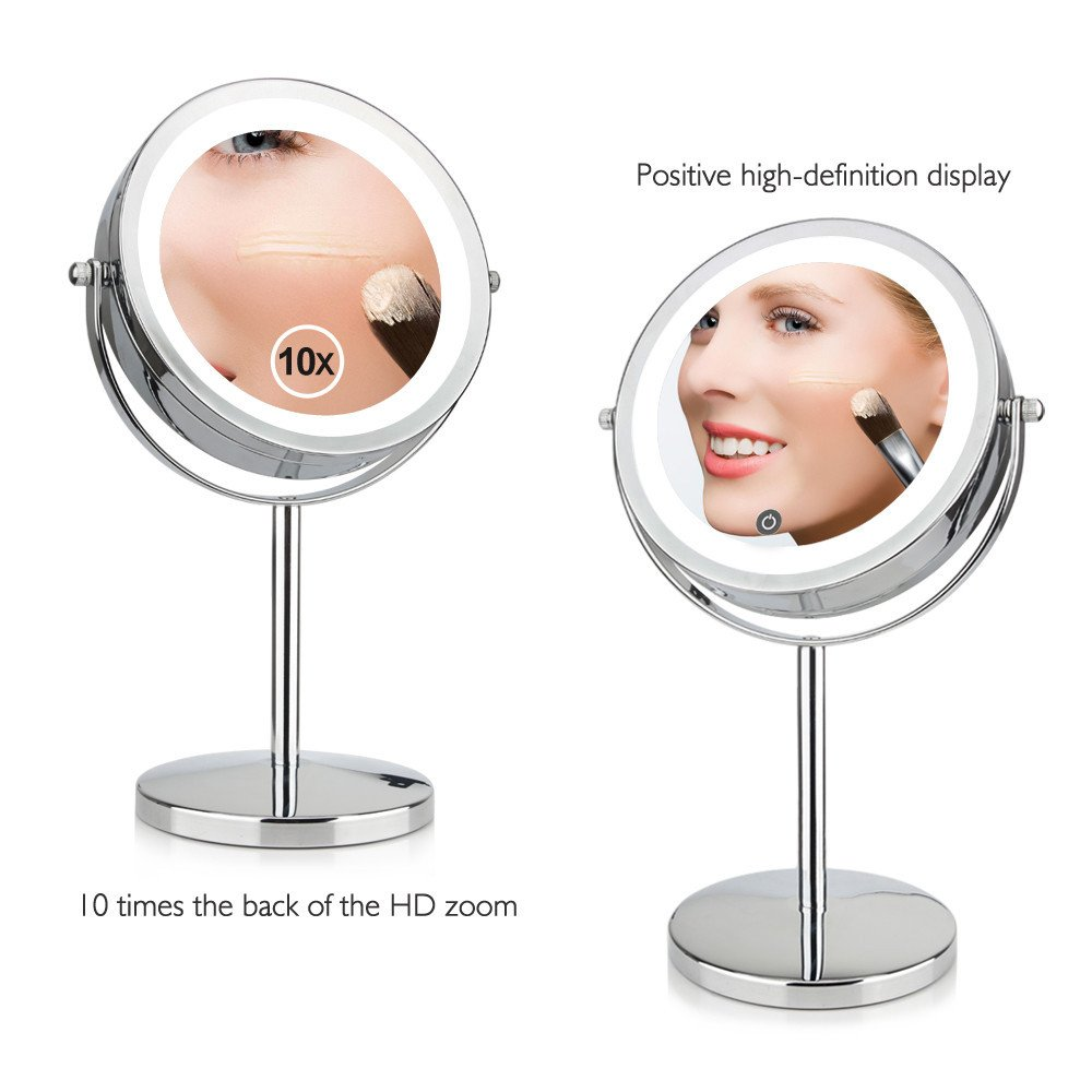 GF Wood 7 Inch 10X Magnification Circular Makeup Mirror Dual 2 Sided Round Shape 17 Leds Rotating Cosmetic Mirror Stand Magnifier Mirror by GF Wood (Image #2)