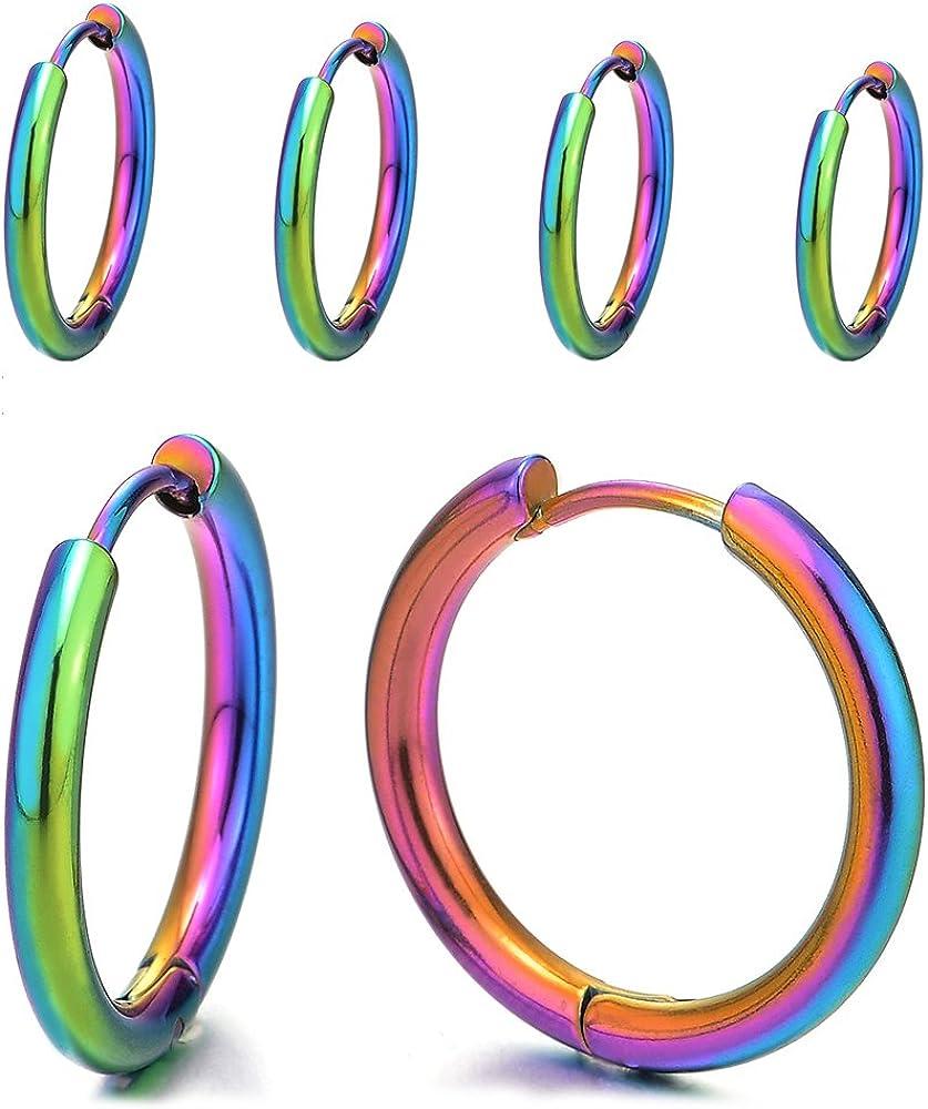 Pair Stainless Steel Colorful Plain Circle Huggie Hinged Hoop Earrings for Men Women