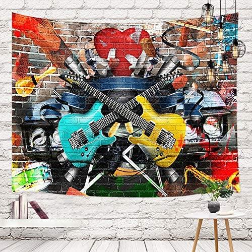 NYMB Music Guitar Brick Wall Tapestry Wall Hanging, Graffiti Wall with Musical Car for Teen Boy Wall Tapestry Art for Home Decorations Dorm Decor Living Room Bedroom Bedspread, Multi5, 80X60in