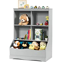 Giantex Cubby Toy Organizer, Wood Storage Cabinet, 3 Shelf 4 Cube Units, Storage Bins Cubbies for Kids' Collections…