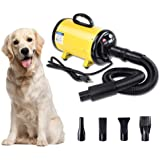 Yescom 2400W 3.2HP Pet Dog Cat Grooming Hair Force Dryer Quick Blower Heater Electrodeless Speed 4 Nozzles Yellow/Black