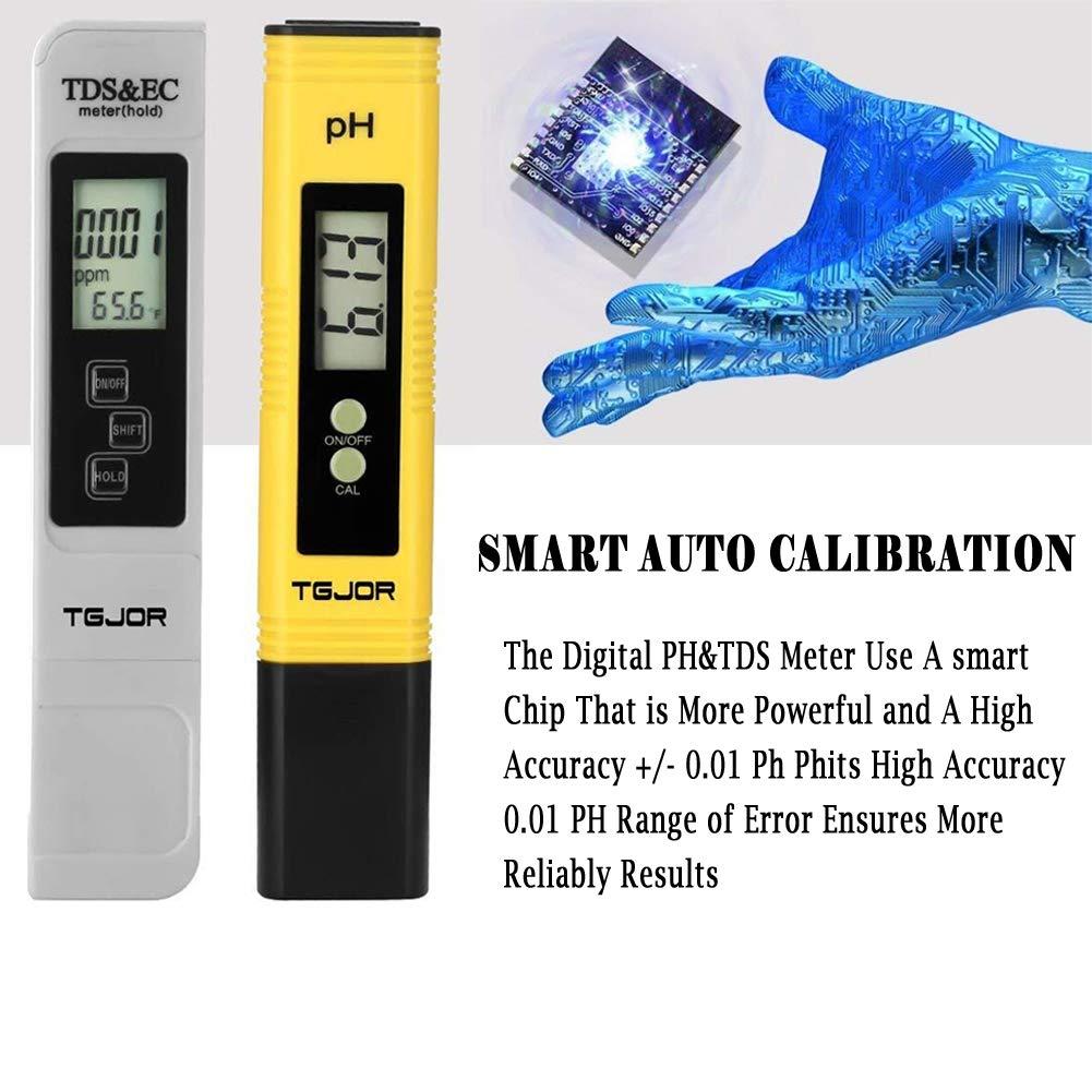 TGJOR Tester Calidad Agua TDS Ph EC Temperatura 4/in 1/Set//Digital Medidor Portabile//Auto-calibrazione y Compensaci/ón autom/ática Temperatura retroiluminada