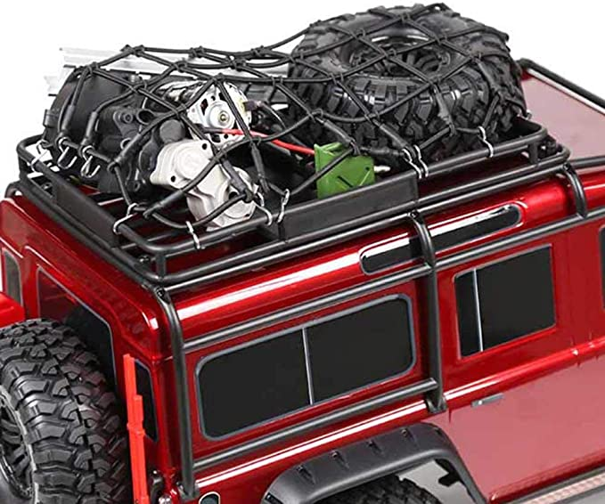 Elastic Luggage Net W//Hook for 1//10 SCX10 D90 TRX4 RC Truck Roof Rack Crawler BK