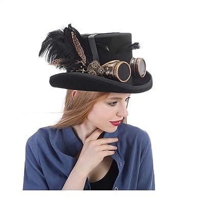 fd28501e373e8 YQXR Moda Sombreros Conjunto de disfraces festivo Sombrero negro para  hombre con gafas Steampunk Sombrero de