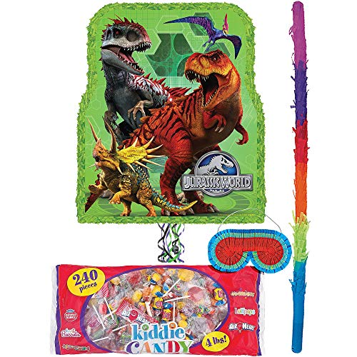 Party City Jurassic World Pinata Kit for Birthday Party, Includes Bat, Blindfold and Kiddie Candy Mix (4lb bag) ()