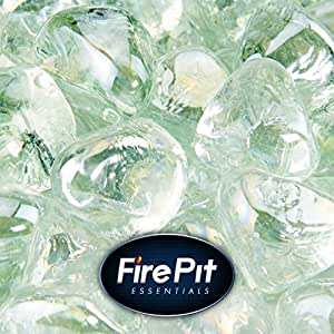 "1"" Diamond Shaped Fire Glass for Indoor or Outdoor Fire Pit or Fireplace 10 Pounds (Arctic Ice)"