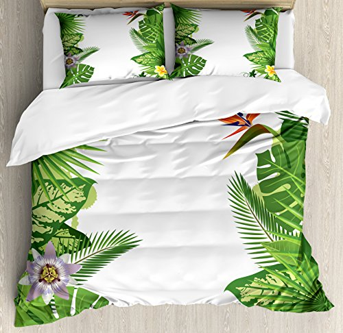 Ambesonne Tropical Queen Size Duvet Cover Set by, Lush Growth Rainforest of Hawaii with Frangipani Philodendron Birds of Paradise, Decorative 3 Piece Bedding Set with 2 Pillow Shams, Multicolor by Ambesonne