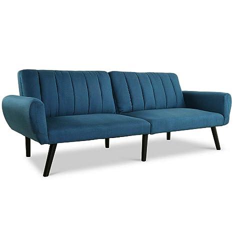 Amazon.com: Sofá azul futón cama sofá convertible colchón ...