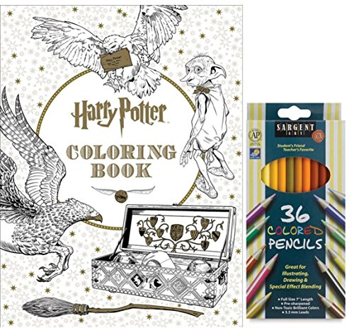 Sargent Art Colored Pencils, Set of 36, and Harry Potter Coloring Book by Scholastic: Stress Relieving Designs to Relax, Mediate and Enjoy! (Halloween Potion Making Games)