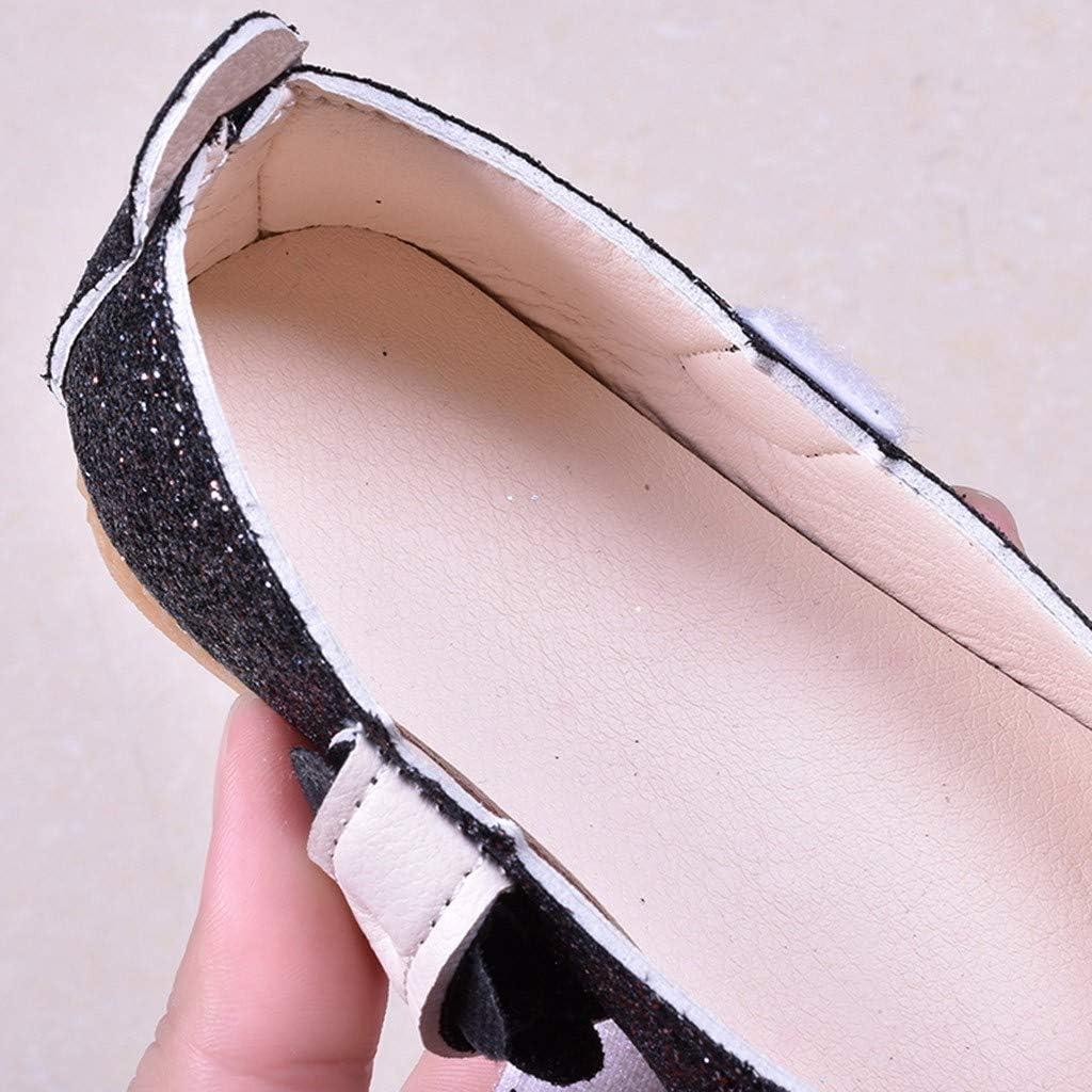 AliveGOT Kid Girls Shiny Bling Flower Princess Dress Shoes Mary Jane Ballet Flat
