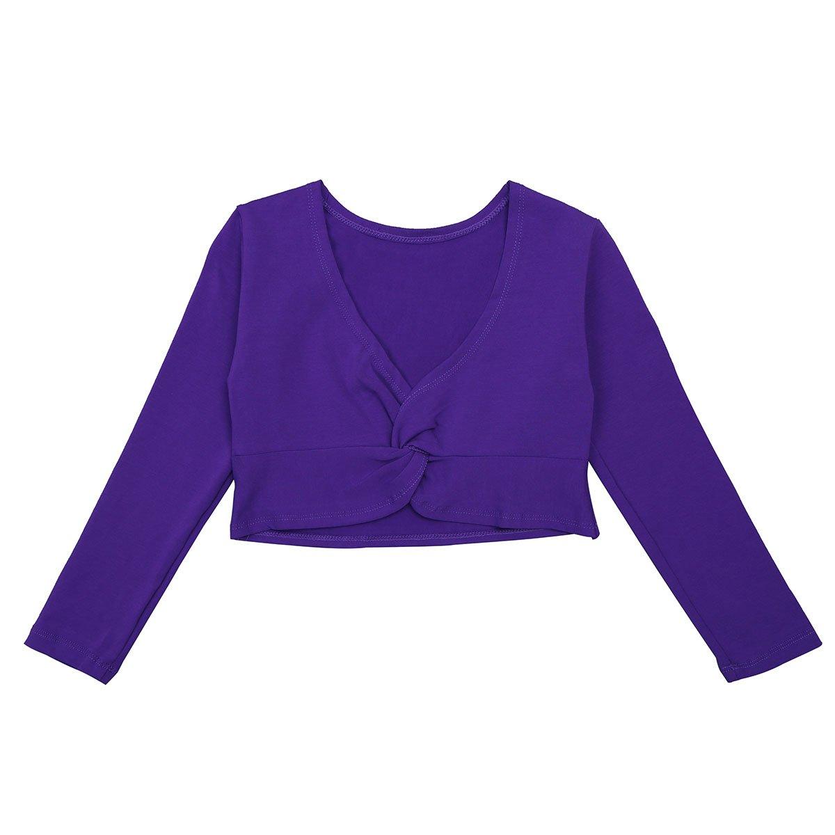 iEFiEL Girls Front Twist Knot Long Sleeve Ballerina Dance Cotton Wrap Top Purple 5-6