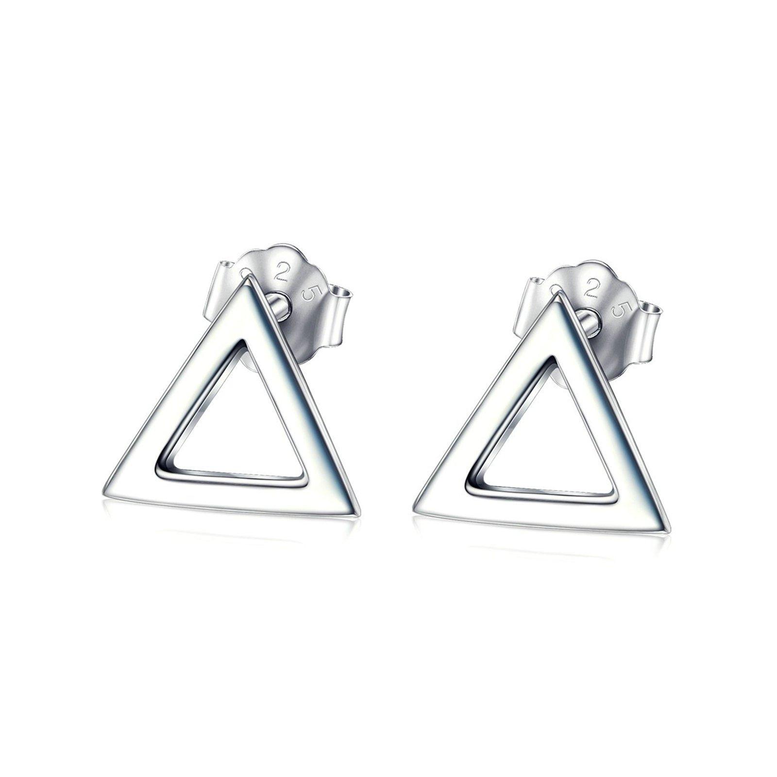Aooaz Jewelry Silver Plated Simple Charm Men and Women Men Trigon Stud Earrings
