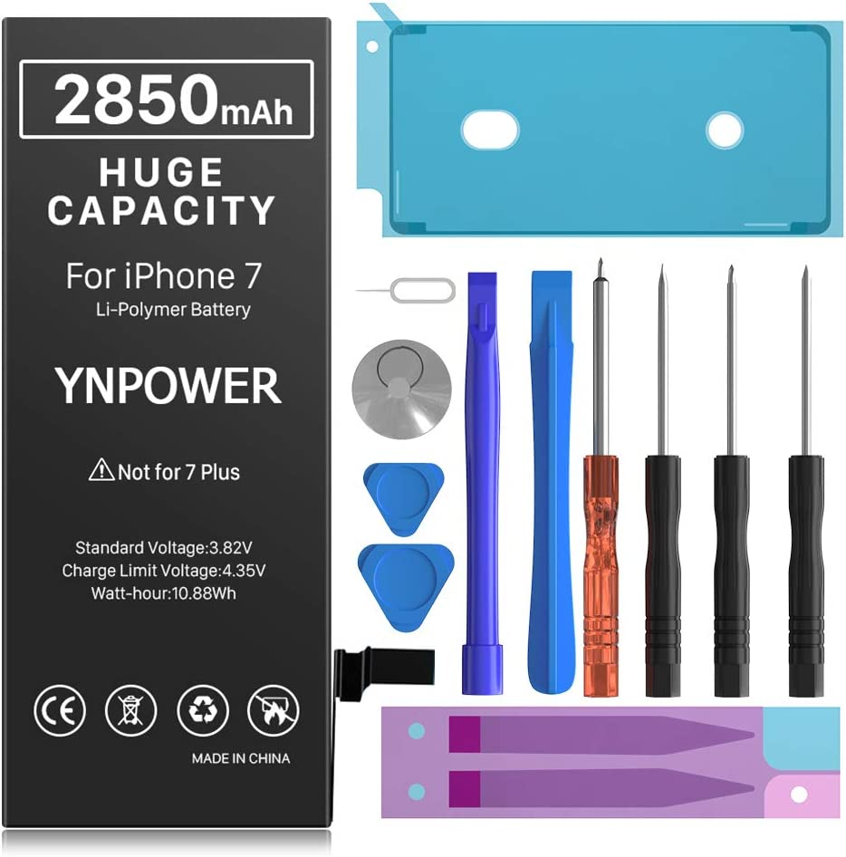 2850mAh YNPOWER Upgraded High Capacity Battery for iPhone Model 7 0 Cycle Replacement Battery Compatible with iPhone 7, with Professional Easy Repair Tool Kit (24 Month Warranty)
