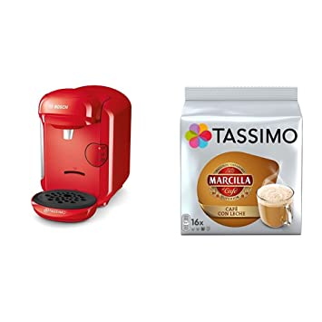 Bosch TAS1403 Tassimo Vivy 2 (color rojo) + Pack café 5 paquetes (80 cápsulas) Tassimo Marcilla Café con Leche: Amazon.es: Hogar