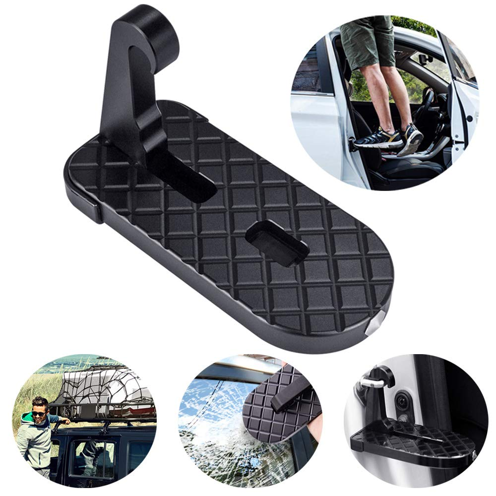 Car Doorstep Vehicle Folding Ladder Hooked on U Shaped Slam Latch Easy Access to Car Roof Rack Rooftop Assistance Doorstep with Safety Hammer Doorstep Black for Jeep SUV Off-Road Vehicles
