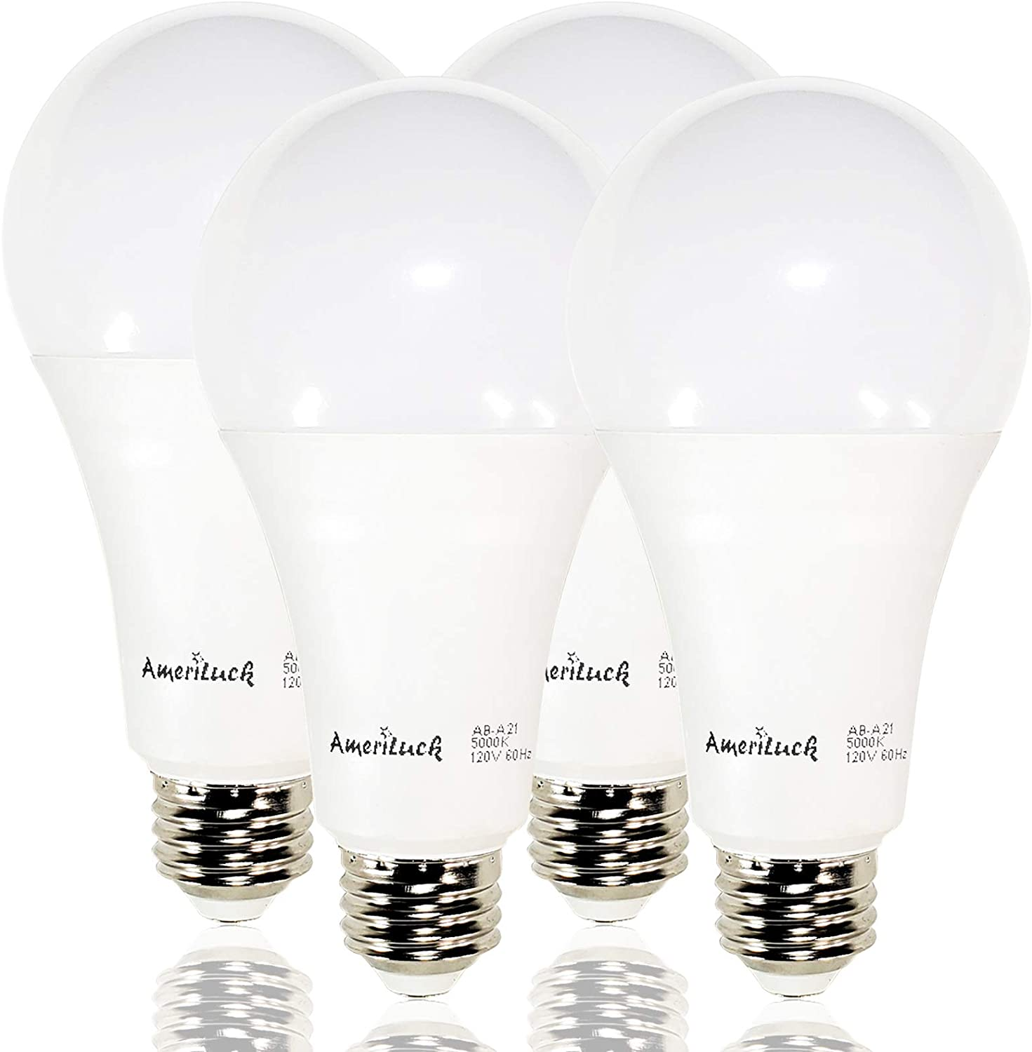 AmeriLuck 150W Equivalent A21 LED Light Bulbs, 2200Lumens 20W, Non-Dimmable (5000K Daylight 4 Pack)