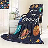 YOYI-HOME Original Luxury Duplex Printed Blanket,Quotes Outer Space Planets and Star Cluster Solar System Moon and Comets Sun Cosmos Multi Extra Soft, Plush, Fluffy, Warm/W39.5'' x H59
