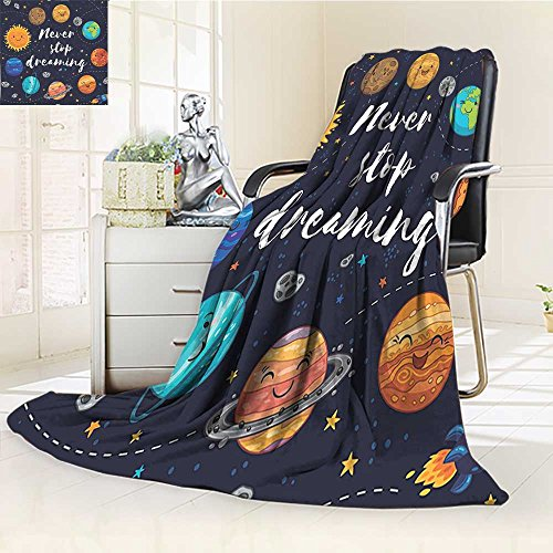 YOYI-HOME Original Luxury Duplex Printed Blanket,Quotes Outer Space Planets and Star Cluster Solar System Moon and Comets Sun Cosmos Multi Extra Soft, Plush, Fluffy, Warm/W39.5'' x H59 by YOYI-HOME