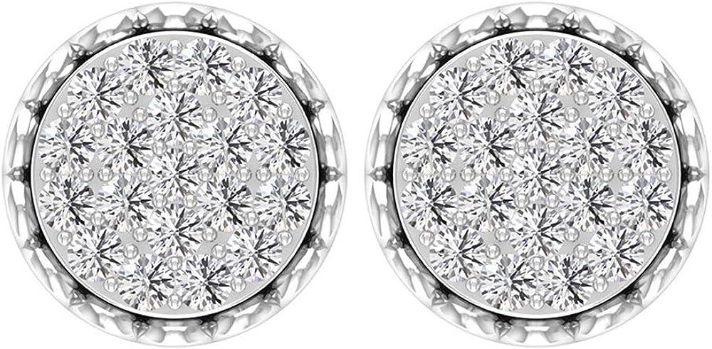 Pendientes de diamante de corte brillante, certificado 3/4 ct, con filigrana grabada en oro antiguo de 14 quilates, pendientes de aniversario, para mujer, oficina, fiesta, tornillo hacia atrás