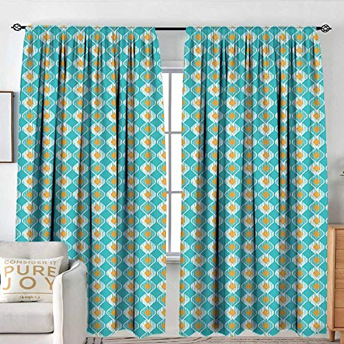 NUOMANAN Blackout Curtains for Bedroom Ikat,Soft Oval Shapes Pattern with African Civilizations Inspirations Lined Motifs,Turquoise Marigold,Darkening and Thermal Insulating Draperies 54