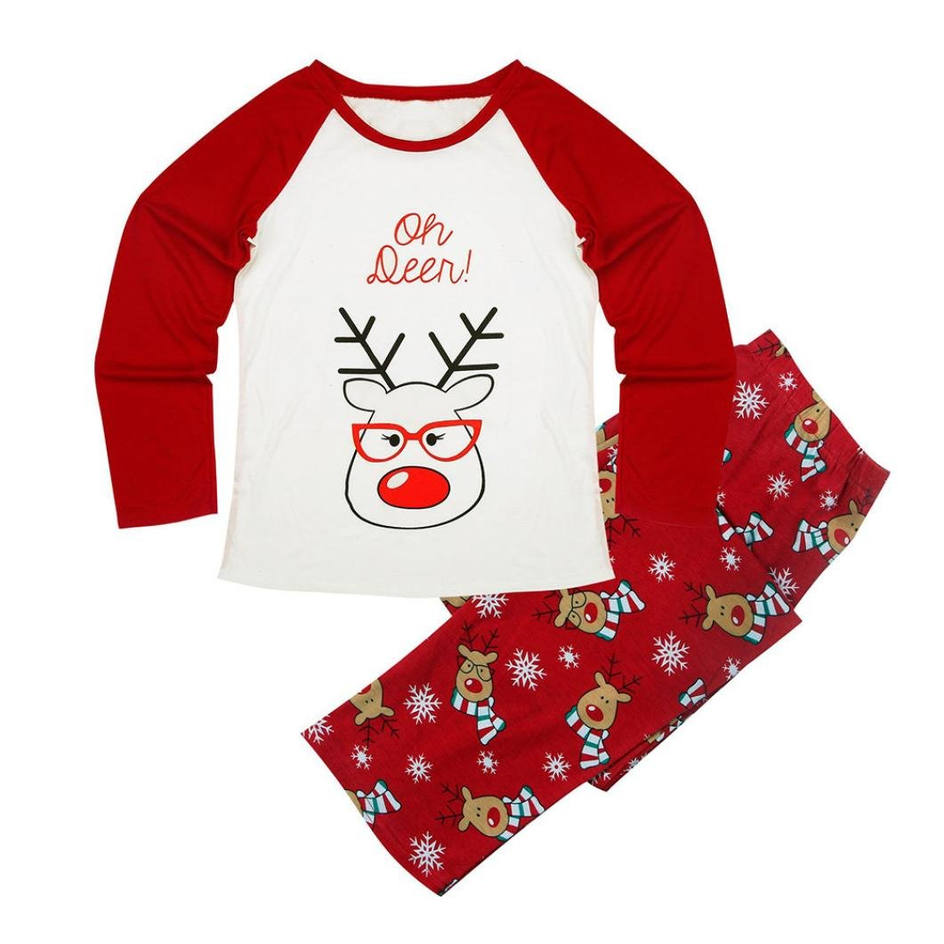 Deer Print T-shirt Tops Blouse Pants Pajamas Set Christmas Family Clothes Outfits Cute
