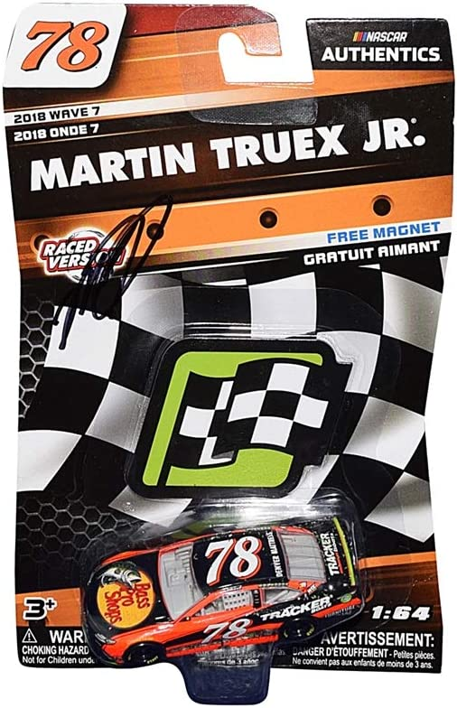 AUTOGRAPHED 2018 Martin Truex Jr. #78 Bass Pro Shops RACED VERSION WIN CAR (Furniture Row Racing) Monster Energy Cup Series WAVE 7 NASCAR Authentics Signed Lionel 1/64 Scale Diecast Car with COA