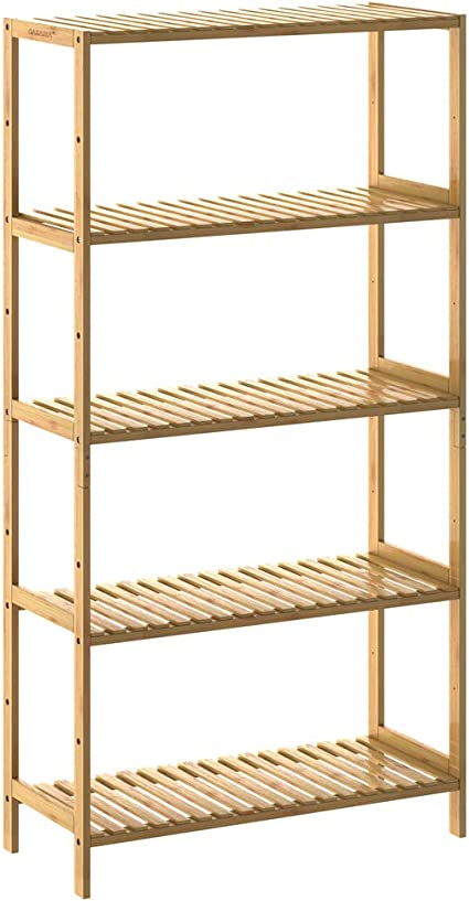 Casaria Estantería de Bambú 5 estantes almacenaje Interior 130x60x26cm Capacidad de 50Kg para baño librería Zapatero