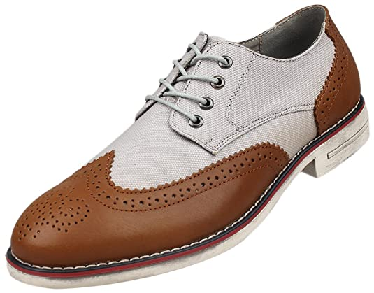 1920s Style Mens Shoes | Peaky Blinders Boots Kunsto Cavas Leather                                              Kunsto Mens Leather Canvas Distressed Two Tone Oxford $54.90 AT vintagedancer.com