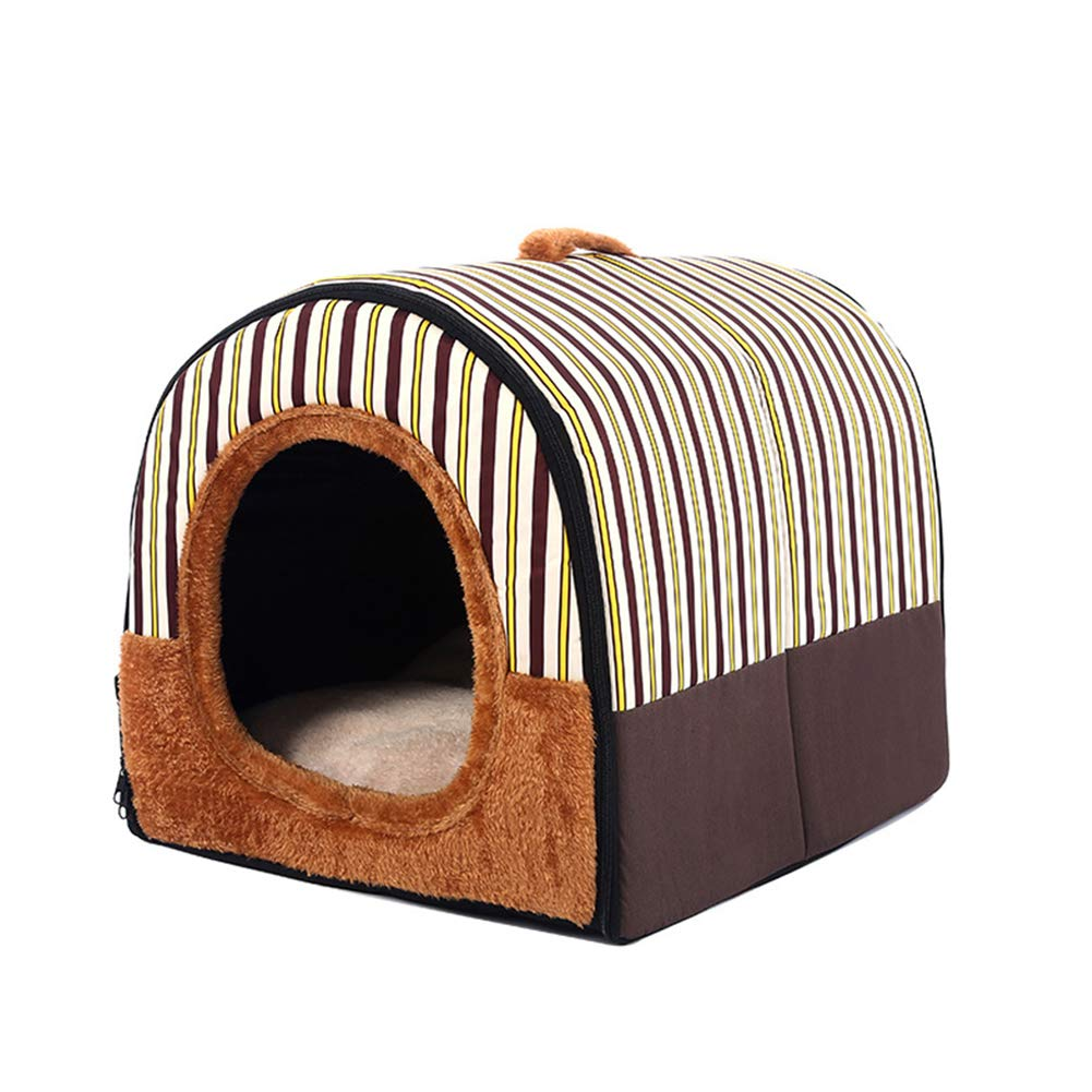 Brown M Brown M XDYFF 2-in-1 Pet house and Portable Sofa Winter warm cat sleeping bag enclosed cat house can be dismantled and washed