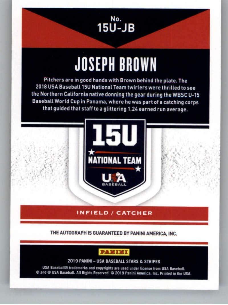 2019 Panini Stars and Stripes 15U National Team Signatures Baseball Blue Ink #12 Joseph Brown Auto Autograph SER//299 USA Baseball 15U National Team Official USA Trading Card From Panini