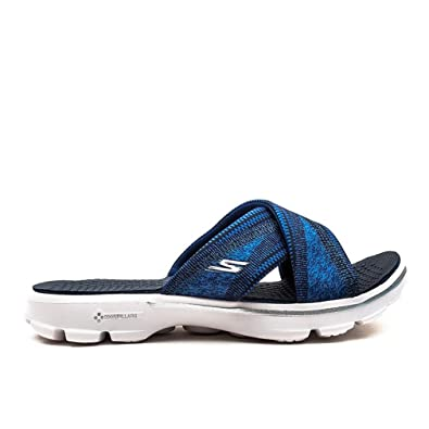 542d59236 Skechers Ladies Womens Navy White Go Walk Mellow Sandals - Navy White -