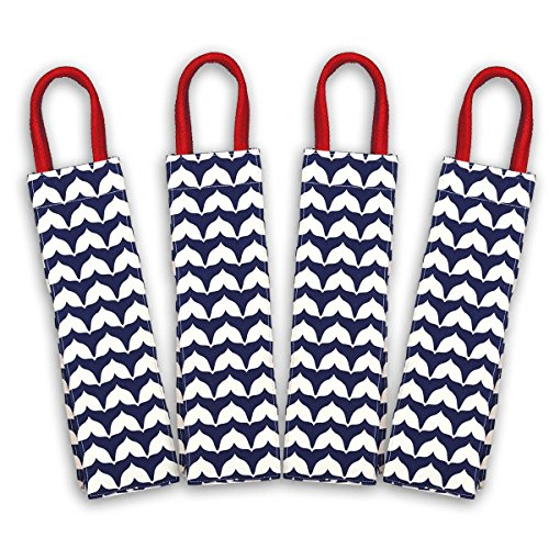 rockflowerpaper Whale Tail Navy Cape Cod Canvas Wine Gift Bag- Pack of 4