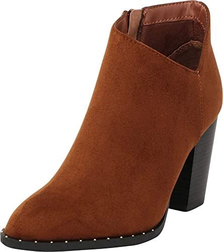 61f607f3e8d6 Cambridge Select Women s Closed Toe Side V Cutout Studded Chunky Stacked  High Heel Ankle Bootie