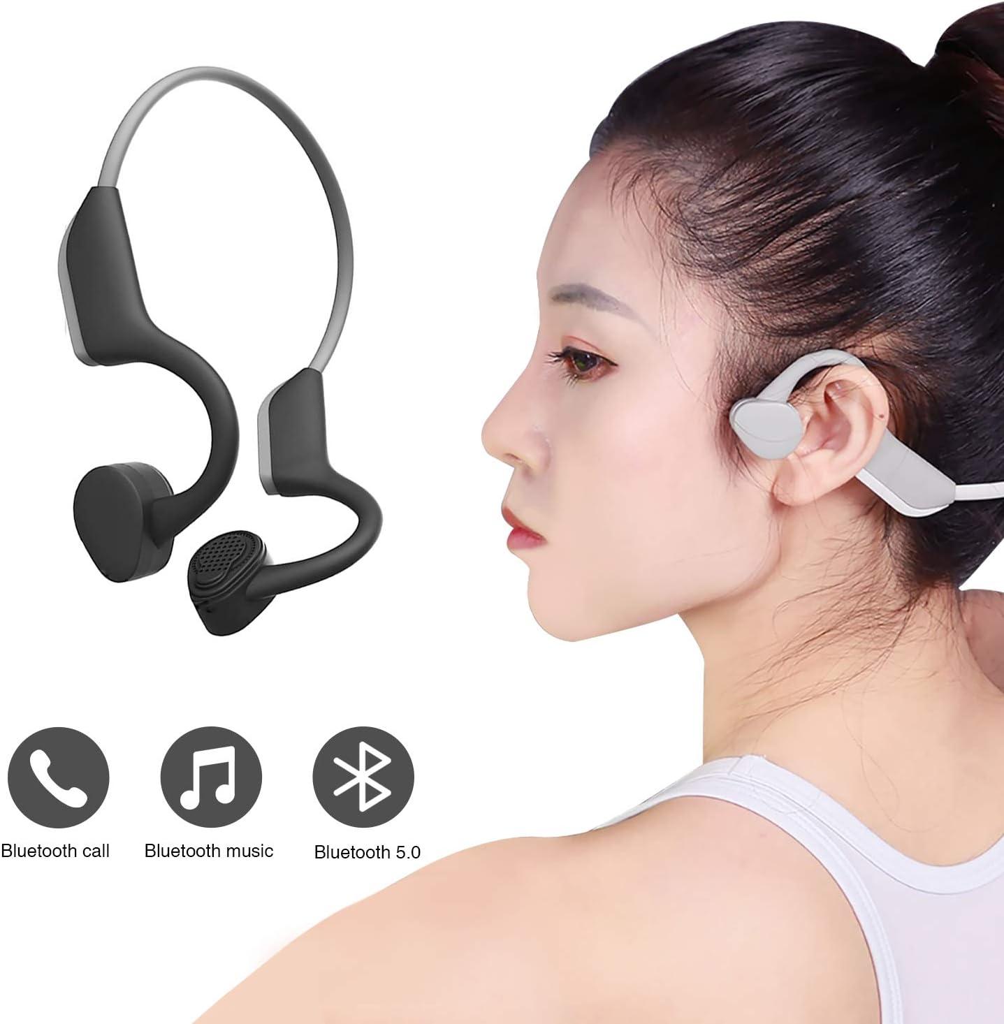 Auriculares Bluetooth 5.0 con conducción ósea y Bluetooth, inalámbricos, deportivos, estéreo, a prueba de sudor, con micrófono para deportes compatible con iOS Android (Versión normal): Amazon.es: Salud y cuidado personal