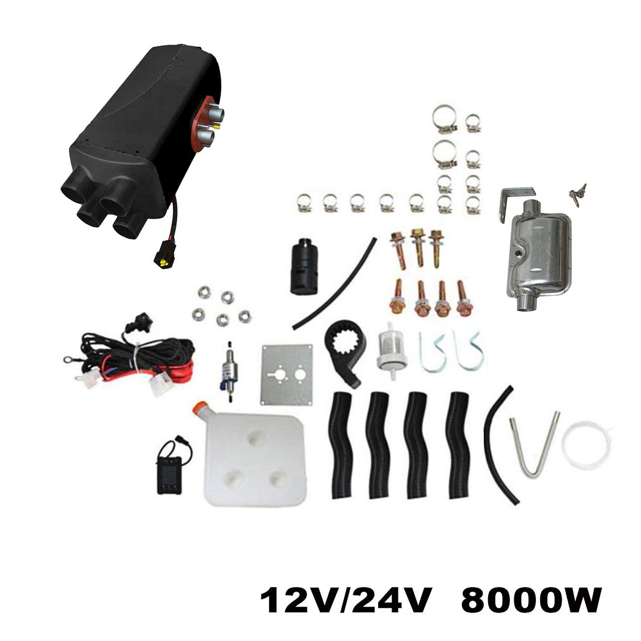 LasVogos Universal 12V 8KW Parking Diesel Air Heater Four-Hole Switch with Muffler