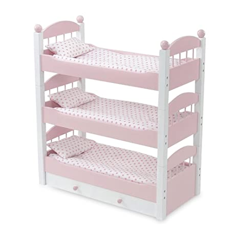 18 Inch Doll Furniture | Lovely Pink And White Stackable Triple Bunk Bed,  Includes Trundle