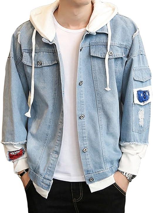 [habille]メンズ ダメージデザイン 加工 デニムジャケット × パーカー カジュアルアウター ワッペン 重ね着風 おまけ付(2カラー)