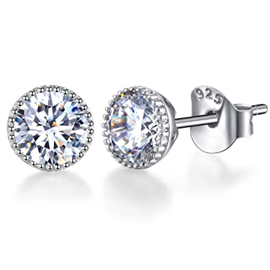 13f429a3d SENCLE 18K White Gold Plated Sterling Silver Diamond Cubic Zirconia Stud  Earrings 5.5mm for Women