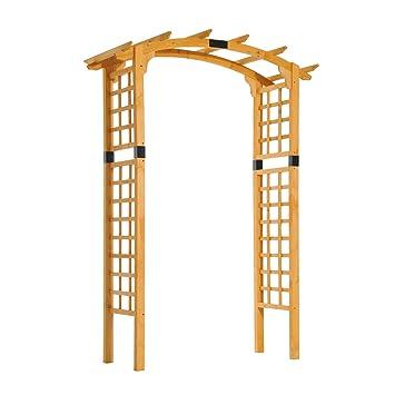 amazon com outsunny 90 wooden garden arbor arch trellis